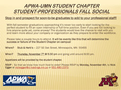 Meet Prospective Interns and Staff at Nov. 7 Student Chapter Social Outing